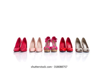 High heel shoes isolated on white background
