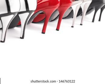 High heel womens shoes closeup of heels