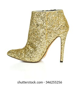 high heels ankle boots in golden sequin design, XXL image