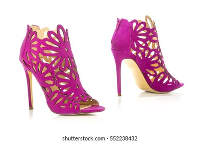 High Heels ankle boots in pink/lilac suede with cut-out ornate design
