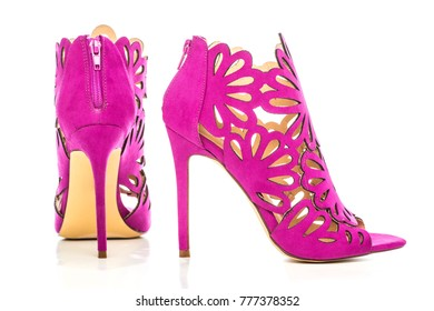High Heels ankle boots in pink/lilac suede with cut-out ornate design.