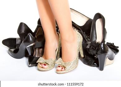 High heels in different colors, womens leg, girls leg, female foot