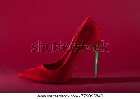 447c8c8316 High Heels with inner platform sole, red patent leather on red background