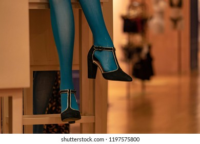 high heels legs women black shoes isolated