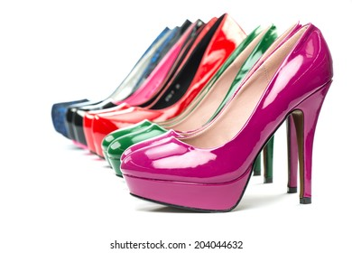 High Heels shoes in shiny patent leather in various colors.
