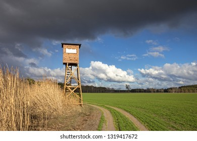 A high hide for hunters who can hunt wild boar and deer from up there. Seen at a wetland in Brandenburg, Germany.