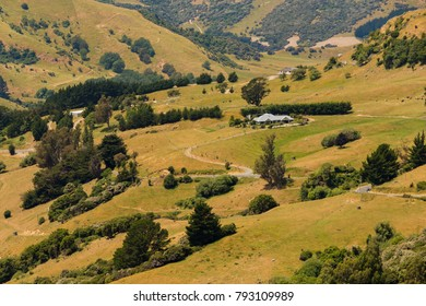 High hill slope New Zealand South Island natual landscape background