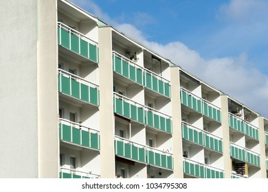 High house with many balconies