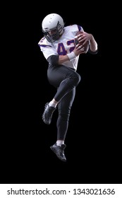 High jump of American Football Player, isolated on white background.