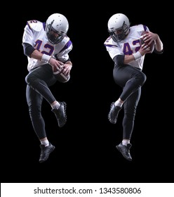 High jump of American Football Player, isolated on black background. Collage.