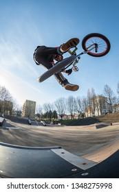 High jump in a skate park.
