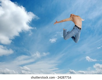 high jumping man on sky background
