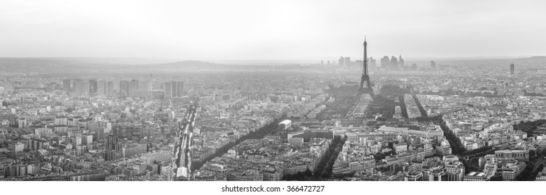 High key black and white panorama of the eiffel tower and the skyline of paris, france