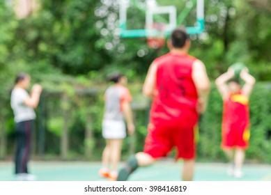 High key blurred image for background of street basketball players on the basketball court work out
