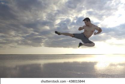 High kick on water