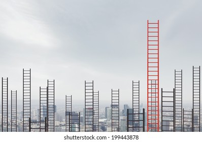 High ladders into the cloudy sky