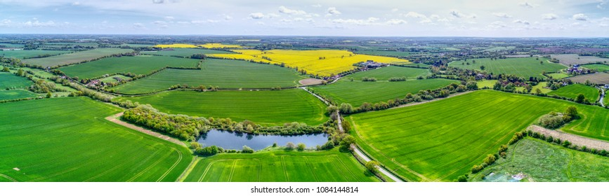 High Laver, near Ongar - Essex, UK - Panoramic aerial view