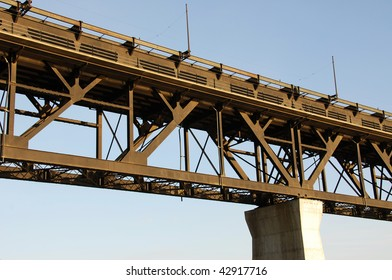 High level bridge in downtown of the city edmonton, alberta, canada