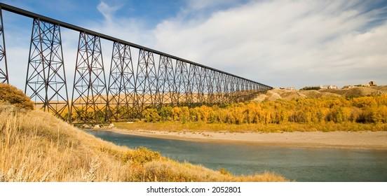 High level bridge at Lethbridge Alberta, Canada.  The longest of it's kind in the world.