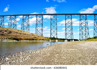 High Level Bridge over the Old Man River in Lethbridge, Alberta, Canada, near Fort Whoop-Up.