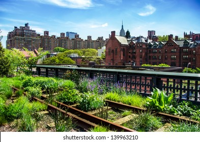 HIgh Line. Urban public park on an historic freight rail line, New York City, Manhattan.