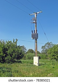 High to low voltage transformer on post