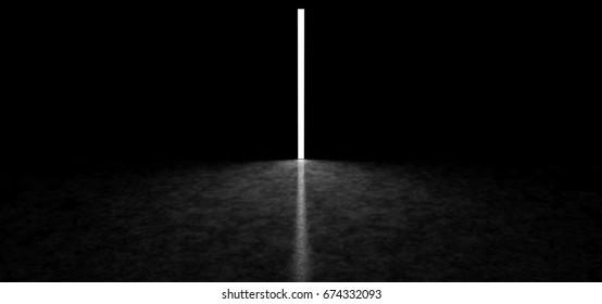 High luminous monument in a dark space. 3D Render