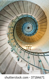 high luxurious lighthouse staircase with metal guardrail and opaline walls, Eckmuhl Brittany