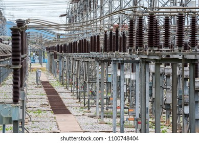 High and medium voltage switchgear in power substation, High voltage circuit breakers and insulated switchgear on electrical substation