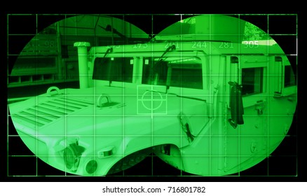 High Mobility Multipurpose Wheeled Vehicle (Humvee) - view through night vision