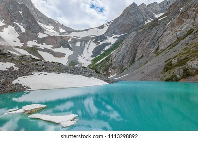 high mountain alpine lake with blue water
