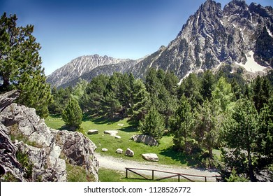 High mountain called Els Encantats in the Aigues Tortes National Park in the Spanish Pyrenees.