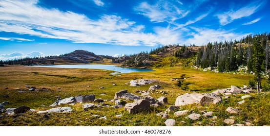 High mountain lake in Rocky Mountains of Colorado.