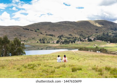 High mountain landscape in the Andes, Peru. People enjoying landscape.