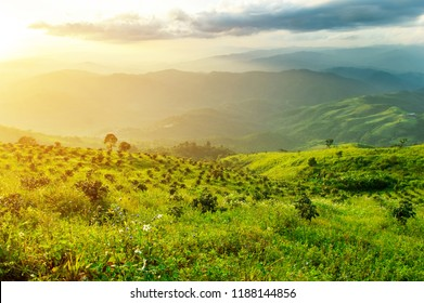 High mountain landscape, the beauty of nature. The sun sets and the sky filled with clouds.
