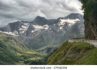 High mountain pass between Austria and Italy in Otztal Alps