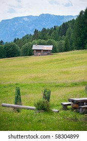 High mountain view:  a small refuge in The Dolomites, Northern Italy