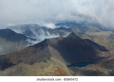 high mountains and clouds, altai