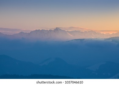 High mountains in first rays and light from sunrise sun,beautiful view, High Tatras, Krivá?, Slovakia