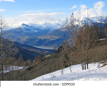 High mountains with a lake on the valley -  Les Orres - Alps - France.