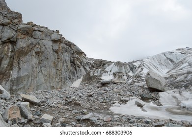 High mountains with snow and ice