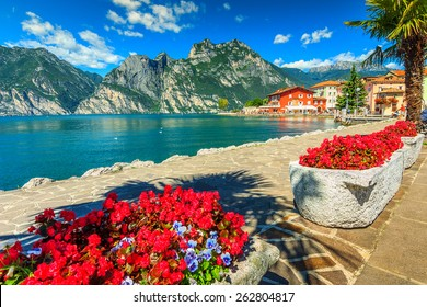 High mountains and walkway on the shore,Lake Garda,Italy,Europe