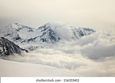 High mountains with winter snow