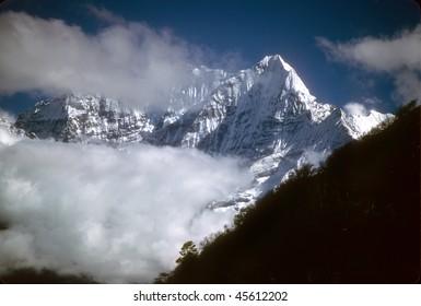High peaks and glaciers in the   Khumbu Himalaya, Nepal, Asia
