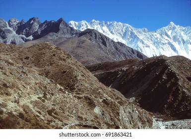 High peaks and glaciers in the Khumbu Himalaya,Nepal, Asia