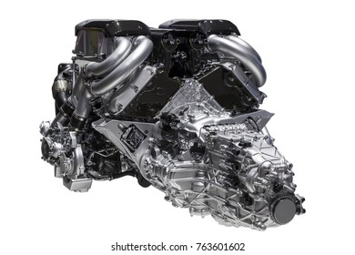 High perfomance sports car engine with attached transmission isolated over a white background