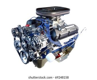 High Performance Chrome V8 Engine Isolated on White