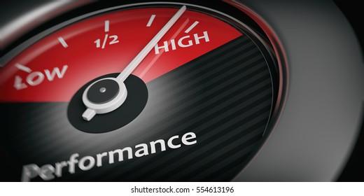 High performance concept. Car indicator high performance close up. 3d illustration
