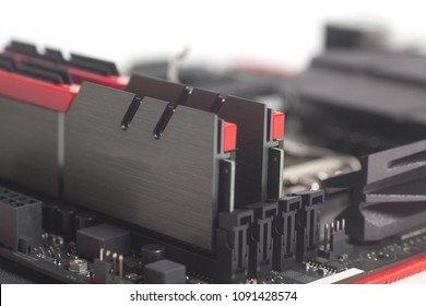 High performance DDR4 computer memory RAM on motherboard