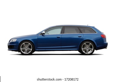 High performance family estate car isolated on black